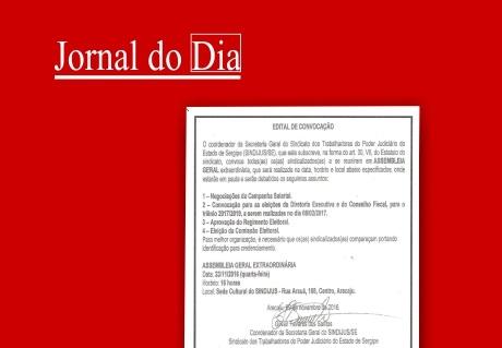 Edital: Assembleia Geral e convocação de eleições para Diretoria e Conselho Fiscal do Sindijus